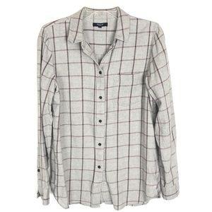 Madewell Long Sleeve Shirt Button Up Gray Plaid M